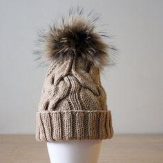 Fur pom pom hat Cashmere Wool hat  Fur by HatsAndOtherStories