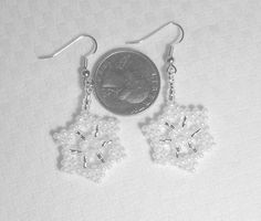christmas seed bead snowflake earrings