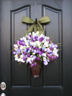 Spring Tulips - Bucket of Spring Tulips - Spring Decor - Purple Tulips - Lavender - Tulip Arrangement - Wall Pockets