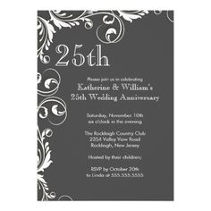 185 best anniversary party invitations images on pinterest 25th wedding anniversary party invitations stopboris Choice Image