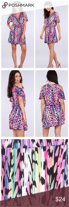 Colorful Print Open Shoulder Dress Fun and beautiful open shoulder mini dress.  95% polyester, 5% spandex. Dresses Mini
