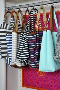 Hang purses using shower hooks!