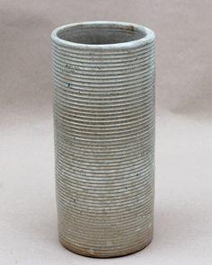 "Large Vintage Homespun Zanesville Ring Rib Ware Cylinder Art Pottery Vase 12"""