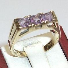 Vintage Ringe - 333er Goldring mit Amethyst Damenring 17 mm GR117 - ein…
