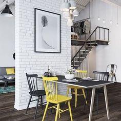 Ambiente super jovem e despojado! O loft, todo decorado com a combinação preto, amarelo e cinza, além de LINDO, é todo moderninho. E copiar a décor pode ser muito fácil: uma cadeira Tolix uma cama de pallet, um papel de parede de tijolinhos brancos, vários pendentes... Ah! Um sonho, não acham? #mobly #moblybr #instahouse #instahome #instadecor #homedesign #home #casa #interiordesign #decoração #decoracaodeinteriores #decorar #decor #homesweethome #inspiration #inspiração