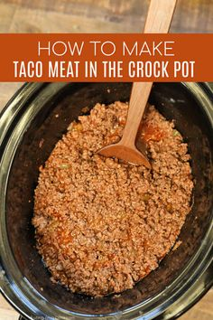 Crockpot Taco Meat Recipe - Easy Crock Pot Taco Meat Learn how to make Crockpot Taco Meat Recipe for the best taco meat packed with flavor. Get dinner on the table quickly when you make taco meat in crock pot. Easy Meat Recipes, Slow Cooker Recipes, Mexican Food Recipes, Easy Meals, Cooking Recipes, Dinner Recipes, Cooking Games, Taco Bar Recipes, Cooking Bread