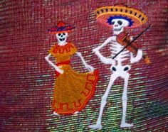 #EmbroideredDreams, #Zibbet, Embroidered Day of the Dead skeleton couple on a pillow