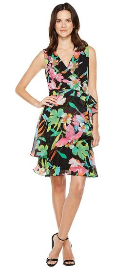 Tahari by ASL Floral Chiffon Faux-Wrap Dress (Black/Fuchsia/Lime) Women's Dress - Tahari by ASL, Floral Chiffon Faux-Wrap Dress, 7129M431-078, Apparel Top Dress, Dress, Top, Apparel, Clothes Clothing, Gift, - Street Fashion And Style Ideas