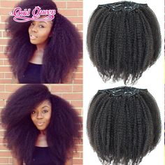 Beautiful afro kinky curly hair virgin brazilian hair clip in 7pcs/set black…