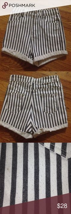 Brandy Melville pinstripe shorts (high-waisted) These are gently worn but as seen in the pictures they show wear (fuzz balls in the back) if you look very closely. I love these Bc they  are high rise and are perf to wear casually or for a night out but unfortunately are too small on me now. They are a stretchy material. Brandy Melville Shorts Jean Shorts