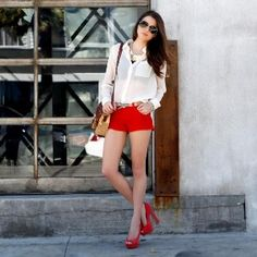 Button up shirt with red shorts :) perfect summer outfit
