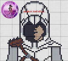 Ezio Auditore da Firenze - Assassin's Creed perler bead pattern - Drayzinha Pixel Art Minecraft, Minecraft Pattern, Cross Stitch Art, Cross Stitch Designs, Cross Stitch Patterns, Sprites, Image Pixel Art, Modele Pixel Art, 8 Bit Art