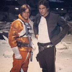 Mark Hamill as Luke Skywalker  and Harrison Ford as Han Solo #starwars
