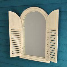 White Wooden Shutter Mirror