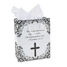 """Medium Religious Wedding Gift Bags - Features a popular quote from 1 Corinthians 13:13. Paper. 7.25"""" x 9"""" x 3.5"""" with 6"""" handles. OrientalTrading.com 12/$7.00"""
