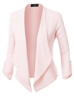 Sharpen your wardrobe with this lightweight ruched 3/4 sleeve open front blazer jacket. A softly draped open-front silhouette softens the look while the ruched sleeves adds a modern touch to this blazer. This blazer is perfect for either professional environment or for casual wear. Feature 97% Polyester / 3% Spandex Lightweight, ultrasoft material for comfort 3/4 Ruched sleeves / No closure Draped front / Asymmetrical hem Dry clean only Please look at the measurements...