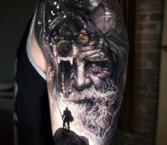 Awesome black and grey realistic tattoo style of Odin motive done by tattoo artist Arlo DiCristina Warrior Tattoo Sleeve, Viking Warrior Tattoos, Viking Tattoo Sleeve, Wolf Tattoo Sleeve, Tattoo Sleeve Designs, Sleeve Tattoos, Loki Tattoo, Arlo Tattoo, Fenrir Tattoo