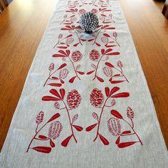 Linen Table Runner Hand Screen Printed Red&Natural by PalumaPrint