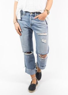 7 For All Mankind 'Jared' Rigid Denim Distressed Jeans - Jessimara Distressed Denim Jeans, Denim Skinny Jeans, Outerwear Women, Boyfriend Jeans, Clothes For Women, Clothing, Jeans Size, Link, Accessories