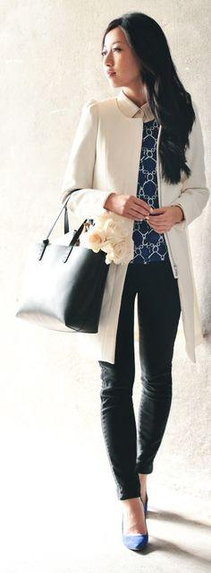 Cream coat + Cobalt Sweater | Extra Petite                              …