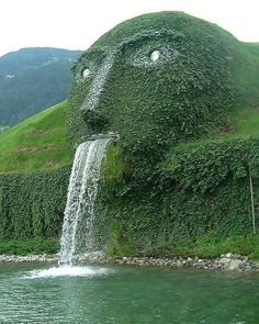 Swarovski Face Fountain  This amazing fountain forms an entrance to the Swarovski Crystal Factory Headquarters in Wattens, Austria.