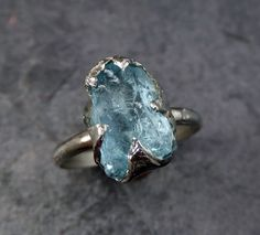 Raw Uncut Aquamarine Ring Solid 14K White Gold Ring wedding engagement Rough Gemstone Ring Statement Ring Stacking Cocktail Ring byAngeline by byAngeline on Etsy