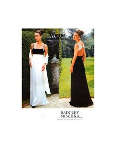 90s Vogue American Designer 1903 Badgley Mischka Lined, Floor Length Evening, Bridesmaid, Prom Dress, Uncut, F/F, Sewing Pattern Size 8-12 Badgley Mischka, 1990s, Bodice, Sewing Patterns, Vogue, Prom Dresses, Floor, Bridesmaid, American