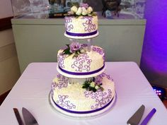 #Wedding Cake with Purple and Yellow Accents www.teatimeinc.com