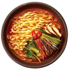Korean Pulmuone Non-Fried Noodles with Spicy Beef Broth Yuk Kal Ramen Pack) Korean Beef Soup, Beef Broth, Gourmet Recipes, Thai Red Curry, Ramen, Noodles, Chili, Spicy, Ethnic Recipes