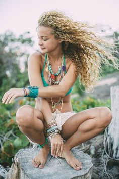 boho chic modern hippie flower child in layered necklaces and stacked bracelets. FOLLOW > https://www.pinterest.com/happygolicky/the-best-boho-chic-fashion-bohemian-jewelry-gypsy-/ NOW for the BEST Bohemian fashion &  carefree lifestyle trends.