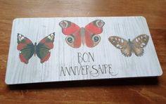 Carte Joyeux Anniversaire Papillons fait main 21cm x 10cm : Cartes par card-bubble