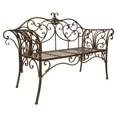 Create a lovely backyard oasis with this eye-catching essential, a charming addition to your spring garden. Wrought Iron Bench, Wrought Iron Decor, Iron Furniture, Garden Furniture, Small Garden Bench, Garden Power Tools, Patio Bench, Backyard Patio, Palmiers