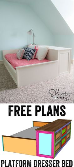 DIY Platform Dresser Bed Free DIY Furniture Project Plan: Learn How to Build a Platform Bed with Dresser Storage via building furniture building projects Building Furniture, Diy Furniture Projects, Home Projects, Furniture Stores, Cheap Furniture, Wood Furniture, System Furniture, Discount Furniture, Bedroom Furniture