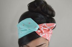 Coral Tiffany Dolly Bow head band. Made with with silver polka dots and Moroccan wire Dolly bow Headband, hair accessory. 100% cotton. Sewn folded
