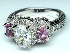 Three Stone Oval Diamond Vintage Engagement Ring with Pink Sapphires side stones - ES306WG