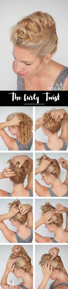 Hair Romance - Curly hair tutorial - easy curly twist updo