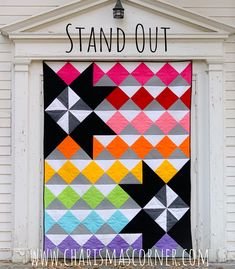 This is a quilt pattern offered in 2 sizes. I also have kits available. This is a quilt pattern offered in 2 sizes. I also have kits available. Big Block Quilts, Star Quilts, Easy Quilts, Mini Quilts, Quilt Blocks, Modern Quilting Designs, Modern Quilt Patterns, Bright Quilts, Colorful Quilts