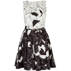 Closet Floral Belted Skater Dress ($32) ❤ liked on Polyvore featuring dresses, sale, white dress, sleeveless skater dress, floral skater skirt, floral skater dress and sleeveless dress