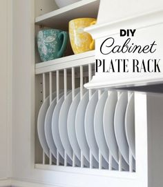 32 Easy DIY Kitchen Storage Ideas on a Budget Looking for new ways to declutter and organize your kitchen with clever storage? These are the best ideas for DIY storage in the kitchen on a budget. Clean Kitchen Cabinets, Diy Cabinets, Kitchen On A Budget, Custom Cabinets, Storage Cabinets, China Cabinets, Cabinet Plate Rack, Diy Plate Rack, Plate Storage