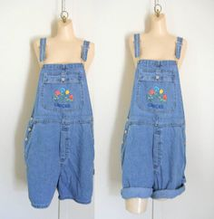 Women Overall Denim Overall Shorts Dungarees by TheVilleVintage, $33.49