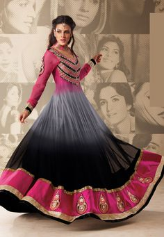 Pink and Black Net Double Layered Abaya Style Churidar Kameez Online Shopping: KMR81
