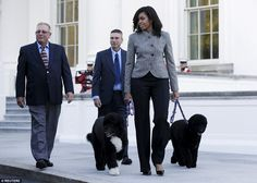 Big event: First Lady Michelle Obama walks with her dogs Bo and Sunny as she welcomes the Official White House Christmas tree, which will be on display in the Blue Room