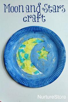 Beautiful moon and start paper plate craft - good Ramadan craft for kids
