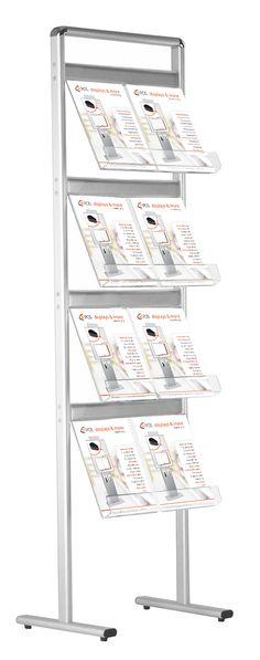 Der Prospektständer Simple besticht durch sein einfaches und gradliniges Design. Dabei lassen sich in der größten Ausführung bis zu 32 x DIN A4 Prospekte und Kataloge unterbringen. Da der Prospekthalter komplette aus Aluminium gefertigt...
