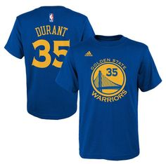 d46eda14b2ec Youth Golden State Warriors Kevin Durant adidas Royal Name   Number T-Shirt