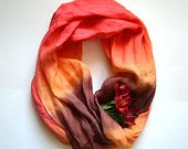 Dip-Dye Red Tones Scarf - Pure Red Orange Brown  Linen Shawl - Long Linen Scarf - Fashion Scarf - Fashion Accessories - Infinity Scarf