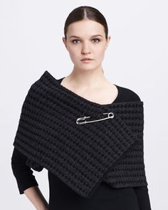 Safety-Pinned Waffle-Knit Scarf, Black by Marc Jacobs at Bergdorf Goodman.