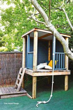 Best Tree House Designs Backyard Fort, Backyard Playhouse, Backyard Landscaping, Outdoor Playhouses, Playhouse Ideas, Backyard Ideas For Small Yards, Backyard For Kids, Playground Design, Backyard Playground