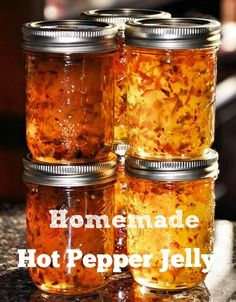 This is a wonderful recipe for old-fashioned Hot Pepper Jelly by Lesa of Better Hens and Gardens.The jelly is both hot and sweet! This is a nice, simple recipe with clear directions. Pepper Jelly Recipes, Hot Pepper Jelly, Cayenne Pepper Jelly Recipe, Canning Pepper Jelly, Bell Pepper, Chutneys, Jam Recipes, Canning Recipes, Easy Canning