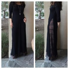 Side split dress Black long 3/4 sleeves side high slit dress PLEASE comment on the size you want ( when your ready to purchase) and allow me to make you a personalized listing BUNDLE AND SAVE 10% Dresses